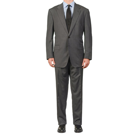 D'AVENZA for ACCADEMYA Handmade Gray Striped Wool Suit EU 60 NEW US 50