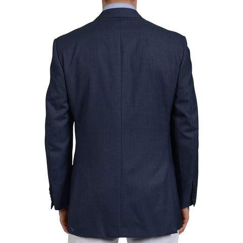 D'AVENZA for ANGELO Handmade Blue Wool DB Blazer Jacket EU 50 NEW US 40