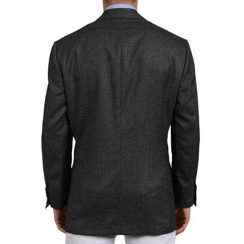 D'AVENZA Roma Gray Herringbone Wool Wool Super 120's DB Jacket 52 NEW US 42