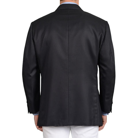 D'AVENZA for D.FINE Handmade Black Striped Wool-Silk DB Jacket EU 60 NEW US 50