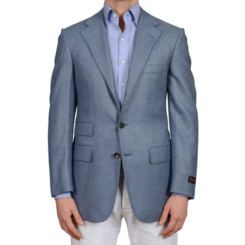 D'AVENZA for MIOZZI Handmade Blue Wool-Cashmere Jacket EU 50 NEW US 40