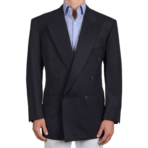 D'AVENZA for NAPOLEON Handmade Blue Wool Super 120's DB Jacket 58 NEW US 48