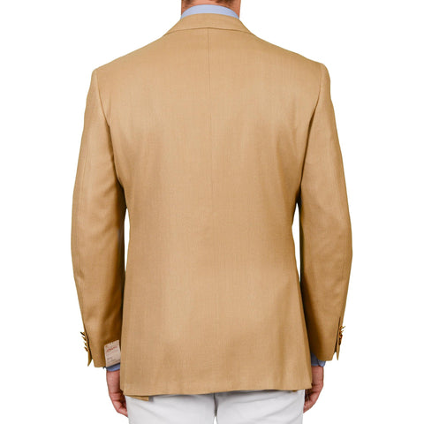 D'AVENZA for RICHARD GELDING Beige Herringbone Silk-Wool Jacket EU 52 NEW US 42