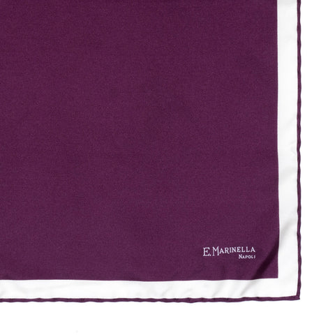 E.MARINELLA Solid Purple Silk Pocket Square Pochette 40cm x 40cm