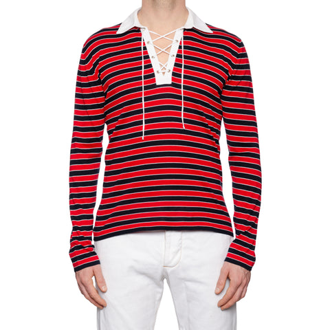 KITON Napoli Red-Blue Striped Cotton Long Sleeve Rugby Polo Shirt 50 NEW US M