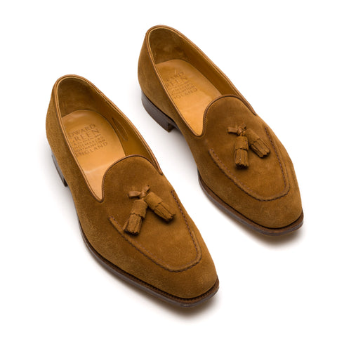 "EDWARD GREEN ""Cromer"" Last 100 Brown Suede Tassel Loafes UK 8-8.5 US"