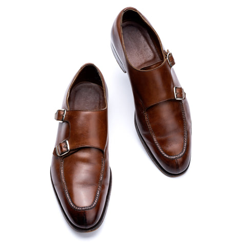 "EDWARD GREEN ""Fulham"" Last 82 Brown Norwegian Double Monk Shoes 6.5 US 7-7.5"