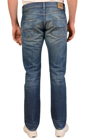 EDWIN Blue Cotton Distressed Denim Slim Fit 5 Pockets Selvedge Jeans W35 L34 - SARTORIALE - 2