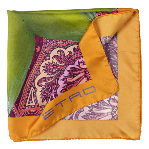 ETRO Star Fruit Paisley Print Silk Pocket Square Pochette 43cmx43cm
