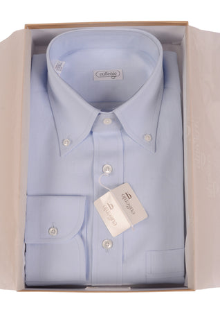 EUGENIO Made In Italy Solid Blue Linen Button Down Dress Shirt EU M NEW US 15.5 - SARTORIALE - 1