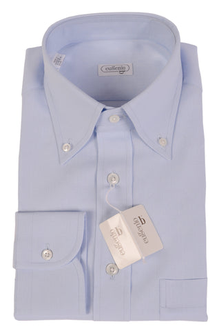 EUGENIO Made In Italy Solid Blue Linen Button Down Dress Shirt EU M NEW US 15.5 - SARTORIALE - 2