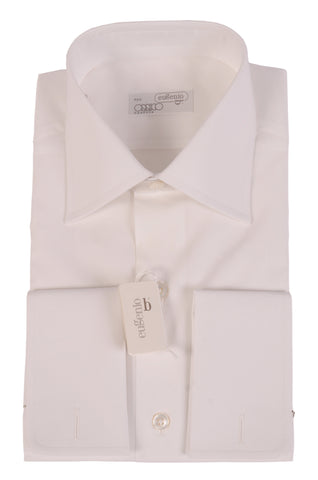 EUGENIO Made In Italy Solid White Cotton French Cuff Dress Shirt NEW - SARTORIALE - 2