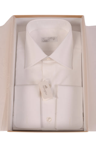 EUGENIO Made In Italy Solid White Cotton French Cuff Dress Shirt NEW - SARTORIALE - 1