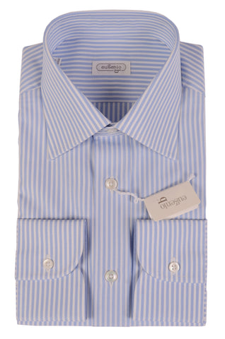 EUGENIO Made In Italy White-Blue Striped Cotton Dress Shirt NEW - SARTORIALE - 2