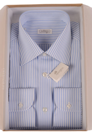 EUGENIO Made In Italy White-Blue Striped Cotton Dress Shirt NEW - SARTORIALE - 1