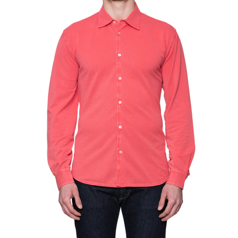 "FEDELI 34 LAB ""Pard"" Solid Coral Cotton Pique Long Sleeve Polo Shirt 54 NEW US XL"
