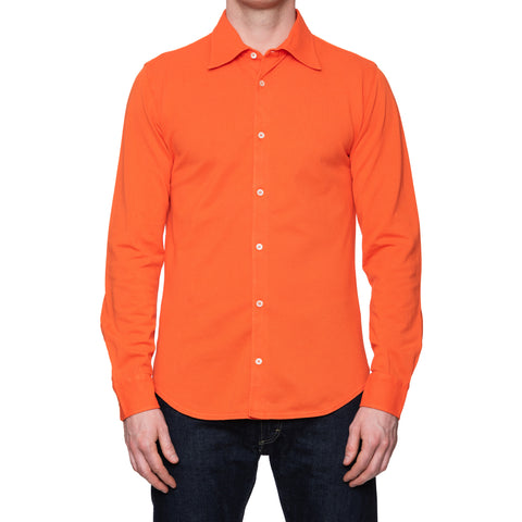 "FEDELI 34 LAB ""Pard"" Solid Orange Cotton Pique Long Sleeve Polo Shirt 50 NEW US M"