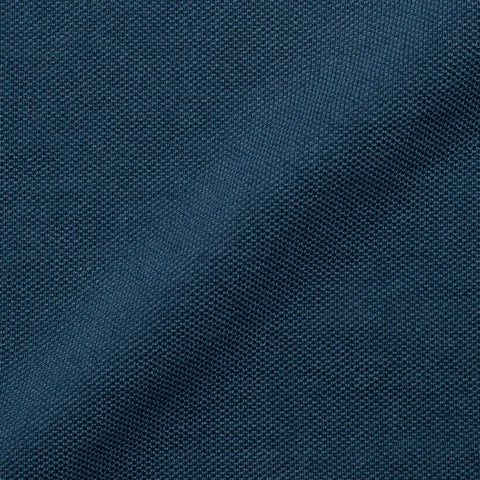 FEDELI Solid Blue Garment Dyed Cotton Pique Polo Shirt EU 54 NEW US XL