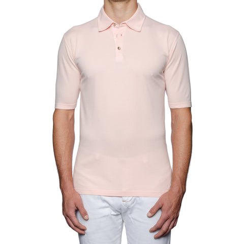 "FEDELI 34 LAB ""Damper"" Solid Light Pink Cotton Pique Polo Shirt EU 54 NEW US XL"
