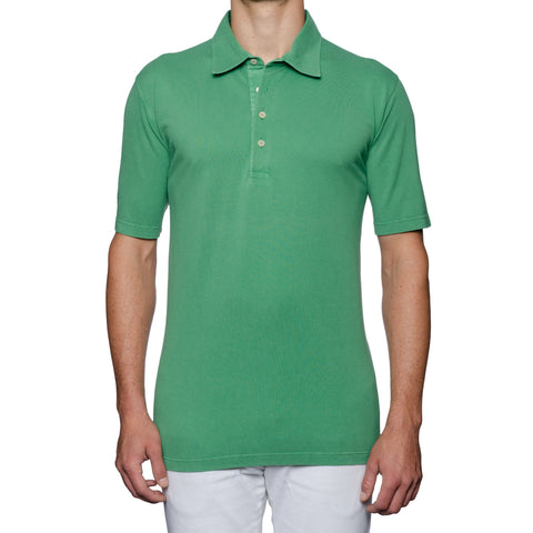 "FEDELI 34 LAB ""North"" Solid Green Cotton Pique Frosted Polo Shirt 60 NEW US 4XL"