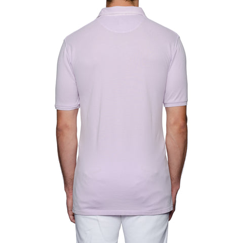 "FEDELI 34 LAB ""North"" Solid Lavender Cotton Pique Frosted Polo Shirt 60 NEW 4XL"