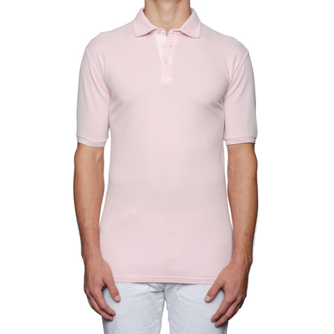"FEDELI 34 LAB ""North"" Solid Pink Cotton Pique Frosted Polo Shirt EU 58 NEW US XL"