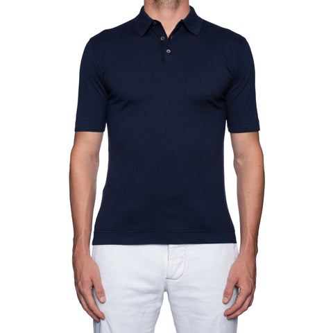 FEDELI 34 LAB Solid Navy Blue Cotton Frosted Jersey Polo Shirt EU 50 NEW US S-M