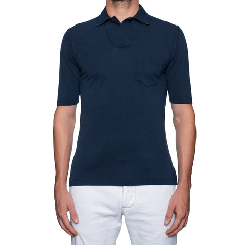 FEDELI 34 LAB Solid Navy Blue Cotton Pique Frosted Polo Shirt EU 48 NEW US S