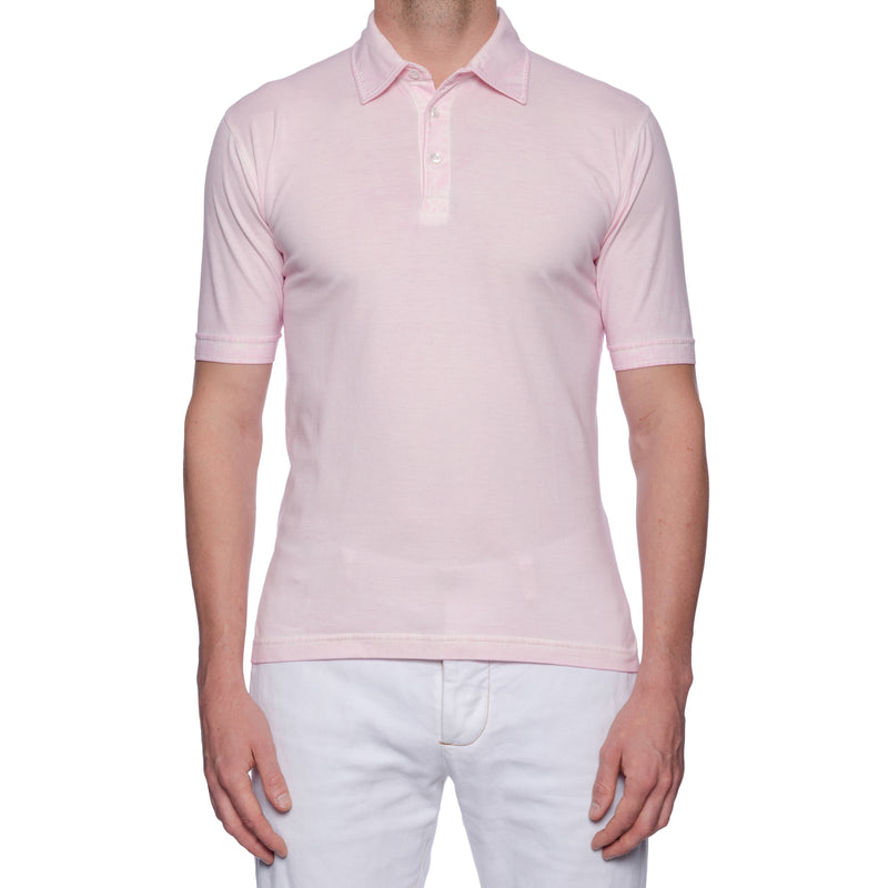 "FEDELI 34 LAB ""Active"" Solid Pink Cotton Dusty System Polo Shirt NEW"