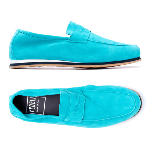 "FEDELI ""Capri"" Turquoise Suede Penny Loafer Shoes with Vibram Sole NEW with Box"
