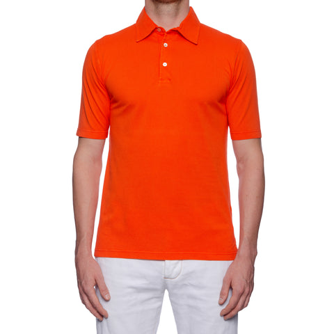 "FEDELI 34 LAB ""Damper"" Solid Orange Cotton Pique Frosted Polo Shirt 50 NEW US M"