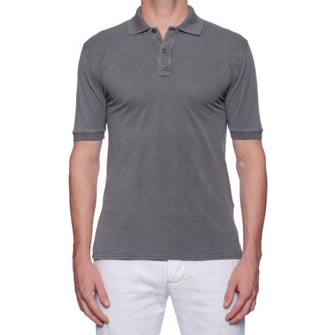 "FEDELI ""Greg"" Solid Gray Cotton Light Pique Frosted Polo Shirt EU 50 NEW US M"