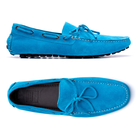 "FEDELI ""Hamilton"" Aqua Blue Suede Loafers Driving Car Shoes Moccasins NEW"