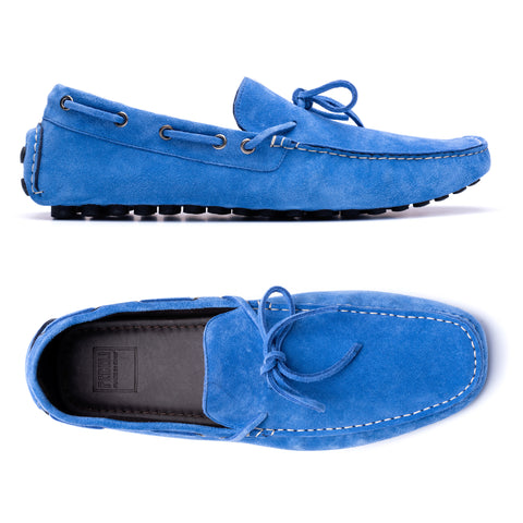 "FEDELI ""Hamilton"" Blue Suede Loafers Driving Car Shoes Moccasins EU 44 NEW US 11"