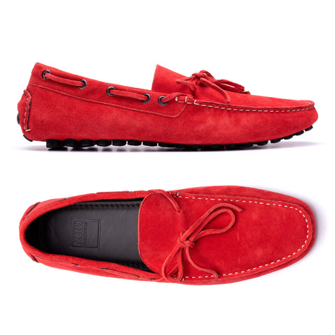 "FEDELI ""Hamilton"" Ferrari Red Suede Loafers Driving Car Shoes Moccasins NEW"