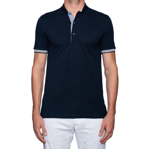 "FEDELI ""Honey"" Solid Navy Blue Cotton Pique Frosted Polo Shirt EU 46 NEW US XS"