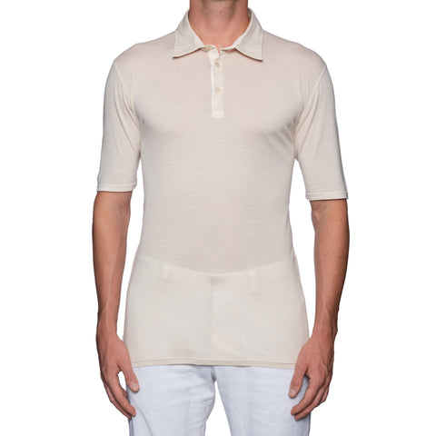 "FEDELI ""Jack"" Solid Beige Super Light Cotton Frosted Jersey Polo Shirt 52 NEW L"