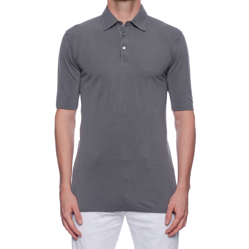 "FEDELI ""Jack"" Solid Gray Cotton Pique Frosted Short Sleeve Polo Shirt EU 50 NEW US M"