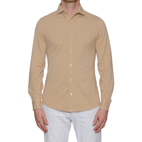 "FEDELI ""John"" Solid Beige Supima Cotton Pique Long Sleeve Polo Shirt 48 NEW US S"