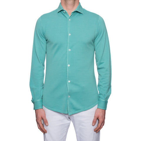 "FEDELI ""John"" Solid Mint Supima Cotton Pique Long Sleeve Polo Shirt 48 NEW US S"