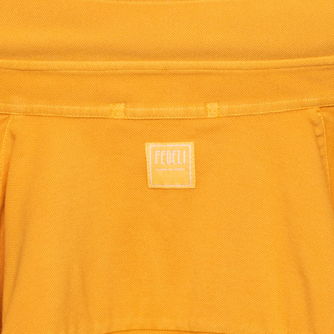 "FEDELI ""John"" Solid Orange Supima Cotton Pique Long Sleeve Polo Shirt 48 NEW S"
