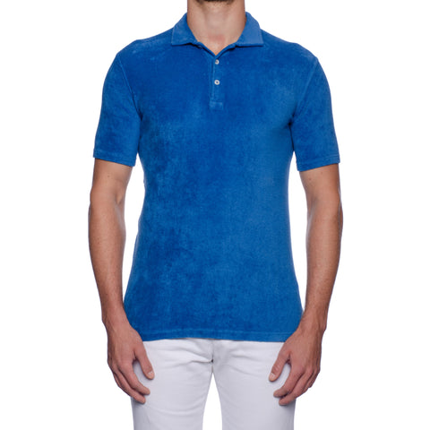 "FEDELI ""Mondial"" Solid Azure Blue Terry Cloth Short Sleeve Polo Shirt NEW"