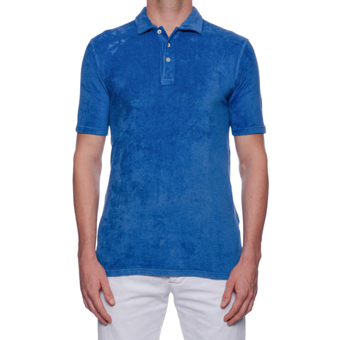 "FEDELI ""Mondial"" Solid Blue Terry Cloth Short Sleeve Polo Shirt EU 52 NEW US L"