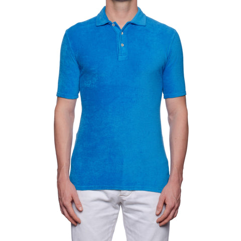 "FEDELI ""Mondial"" Solid Blue Terry Cloth Short Sleeve Polo Shirt NEW"