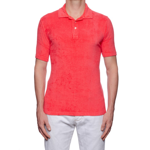 "FEDELI ""Mondial"" Solid Blood Orange Terry Cloth Short Sleeve Polo Shirt NEW"