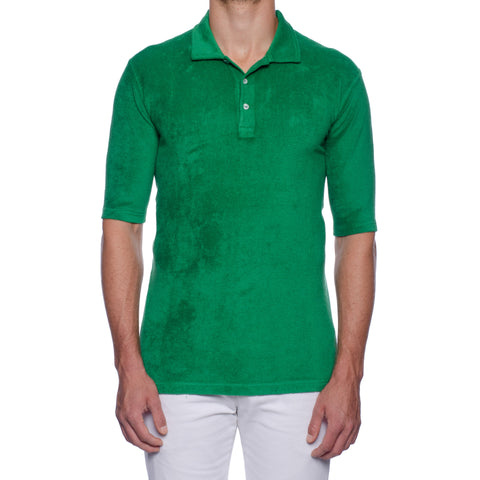 "FEDELI ""Mondial"" Solid Emerald Green Terry Cloth Short Sleeve Polo Shirt NEW"