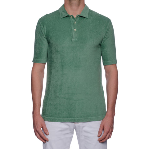 "FEDELI ""Mondial"" Solid Green Terry Cloth Short Sleeve Polo Shirt EU 50 NEW US M"