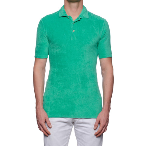 "FEDELI ""Mondial"" Solid Green Terry Cloth Short Sleeve Polo Shirt NEW"