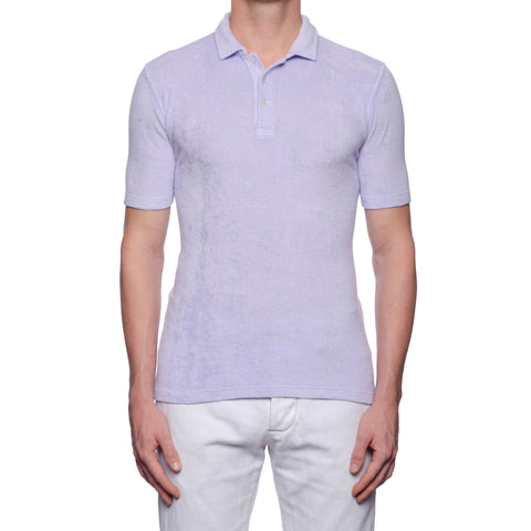 "FEDELI ""Mondial"" Solid Lavender Terry Cloth Short Sleeve Polo Shirt NEW"