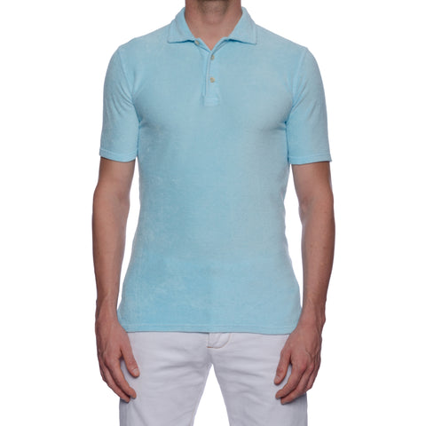 "FEDELI ""Mondial"" Solid Light Blue Terry Cloth Short Sleeve Polo Shirt 50 NEW M"